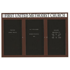 3 Door Indoor Enclosed Directory Board with Header and Bronze Anodized Aluminum Frame - 48