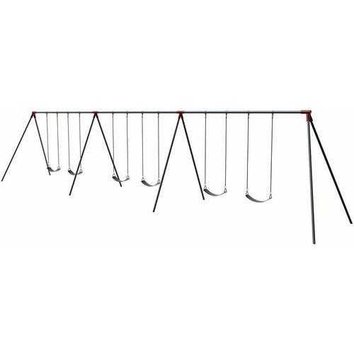 Six Seat Primary Bipod Swing Set with Galvanized Swing Chains and Thirteen Gauge Steel Frame - 96