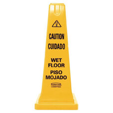 Rubbermaid® Commercial Four-Sided Caution - Wet Floor Safety Cone - 10 1/2w x 10 1/2d x 25 5/8h - Yellow
