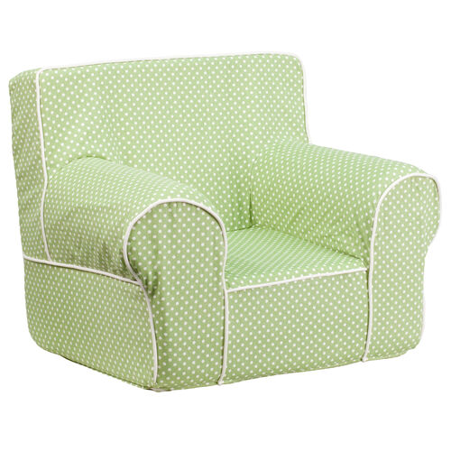 Small Green Dot Kids Chair with White Piping