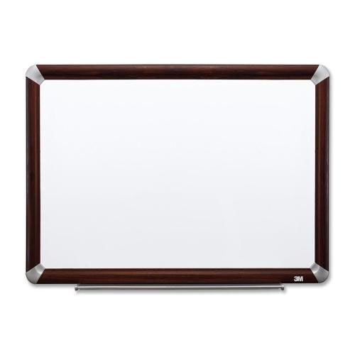 3M Dry -Erase Board -withMarker/Accessory Tray - Mahogany
