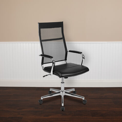 High Back Black Mesh Contemporary Executive Swivel Office Chair with LeatherSoft Seat