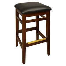 Trevor Mahogany Wood Backless Barstool - Black Vinyl Seat