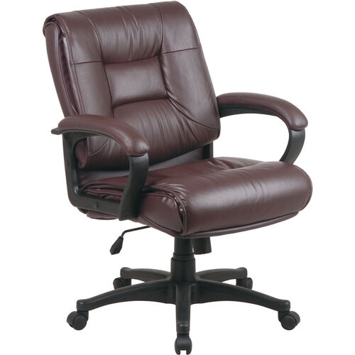 Our Work Smart Deluxe Mid Back Executive Glove Soft Leather Chair with Padded Loop Arms - Burgundy is on sale now.