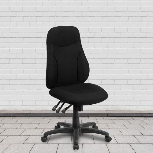 High Back Black Fabric Multifunction Swivel Ergonomic Task Office Chair