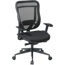 Space 818 Breathable Mesh Back and Black Mesh Seat Executive Office Chair with 2-to-1 Synchro Tilt- Black