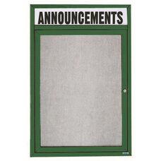 1 Door Outdoor Illuminated Enclosed Bulletin Board with Header and Green Powder Coated Aluminum Frame - 36