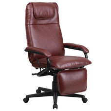 High Back Burgundy Leather Executive Reclining Ergonomic Swivel Office Chair with Arms