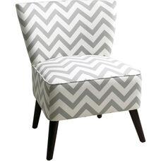 Ave Six Apollo Armless Fabric Chair with Wood Legs - Zig Zag Grey