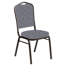 Embroidered Crown Back Banquet Chair in Perplex Hazelwood Fabric - Gold Vein Frame