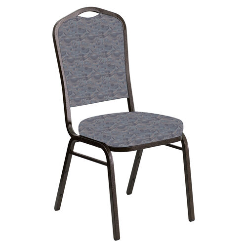 Our Embroidered Crown Back Banquet Chair in Perplex Hazelwood Fabric - Gold Vein Frame is on sale now.
