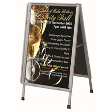 Satin Anodized Lightweight Aluminum Snapframe A-Frame Sidewalk Poster/Sign Holder with Clear Acrylic Cover and Steel Reinforced Corners - 24