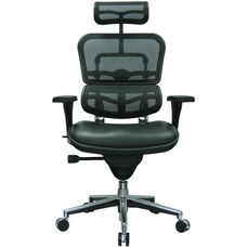 Ergohuman Series High Back 26.5'' W x 29'' D x 46'' H Adjustable Height Task Chair - Black Leather and Mesh