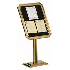 Single Pedestal-Ornamental Sign and Poster Stand with Brass Base and Frame