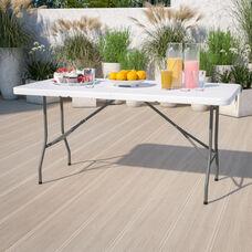 5-Foot Granite White Plastic Folding Table