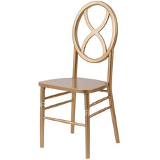 Veronique Series Stackable Sand Glass Wood Dining Chair - Gold