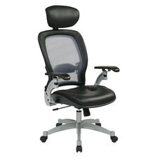 Space Professional Light Air Grid Back Office Chair with Adjustable Headrest and Platinum Finish Accents