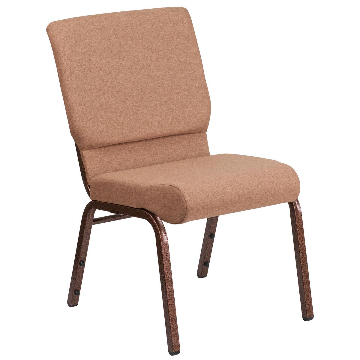 For Less Furniture: Caramel Fabric Church Chair FD-CH02185-CV-BN-GG