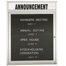 1 Door Indoor Enclosed Directory Board with Header and Aluminum Frame - 36