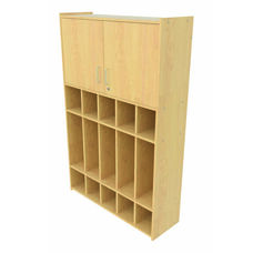 2000 Series Preschool 5 Compartment Maple Lockers with Locking Storage Cabinet - Assembled