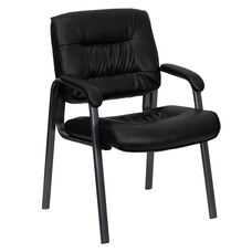 Black LeatherSoft Executive Side Reception Chair with Titanium Gray Powder Coated Frame