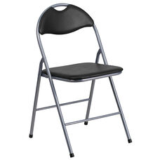 HERCULES Series Black Vinyl Metal Folding Chair with Carrying Handle