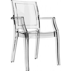 Arthur Polycarbonate Modern Stackable Dining Arm Chair - Transparent Clear