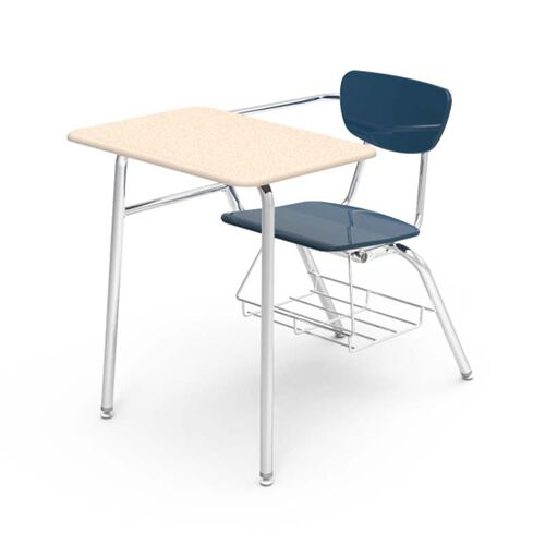 Quick Ship 3000 Series Combo Sandstone Hard Plastic Desk with Navy Seat and Chrome Frame - 24