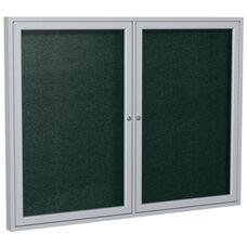 2-Door Satin Aluminum Framed Enclosure Outdoor Vinyl Tackboard