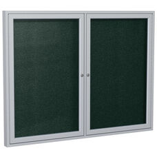 2-Door Satin Aluminum Framed Enclosure Outdoor Vinyl Tackboard