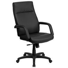 High Back Black Leather Executive Swivel Ergonomic Office Chair with Memory Foam Padding and Arms