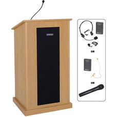 Chancellor Wireless 150 Watt Sound and Microphone Lectern - Oak Finish - 24