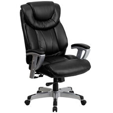 HERCULES Series Big & Tall 400 lb. Rated Black Leather Executive Ergonomic Office Chair with Silver Adjustable Arms
