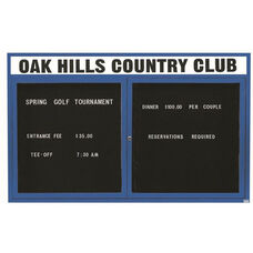 2 Door Indoor Enclosed Directory Board with Header and Blue Anodized Aluminum Frame - 48