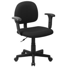 Low Back Fabric Swivel Task Chair with Adjustable Arms