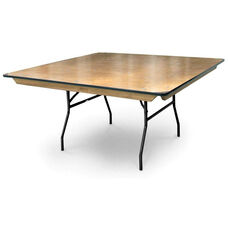 Square Plywood Folding Table with Locking Wishbone Style Legs