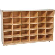 Wooden Storage Unit with 30 Lime Green Plastic Trays - 58