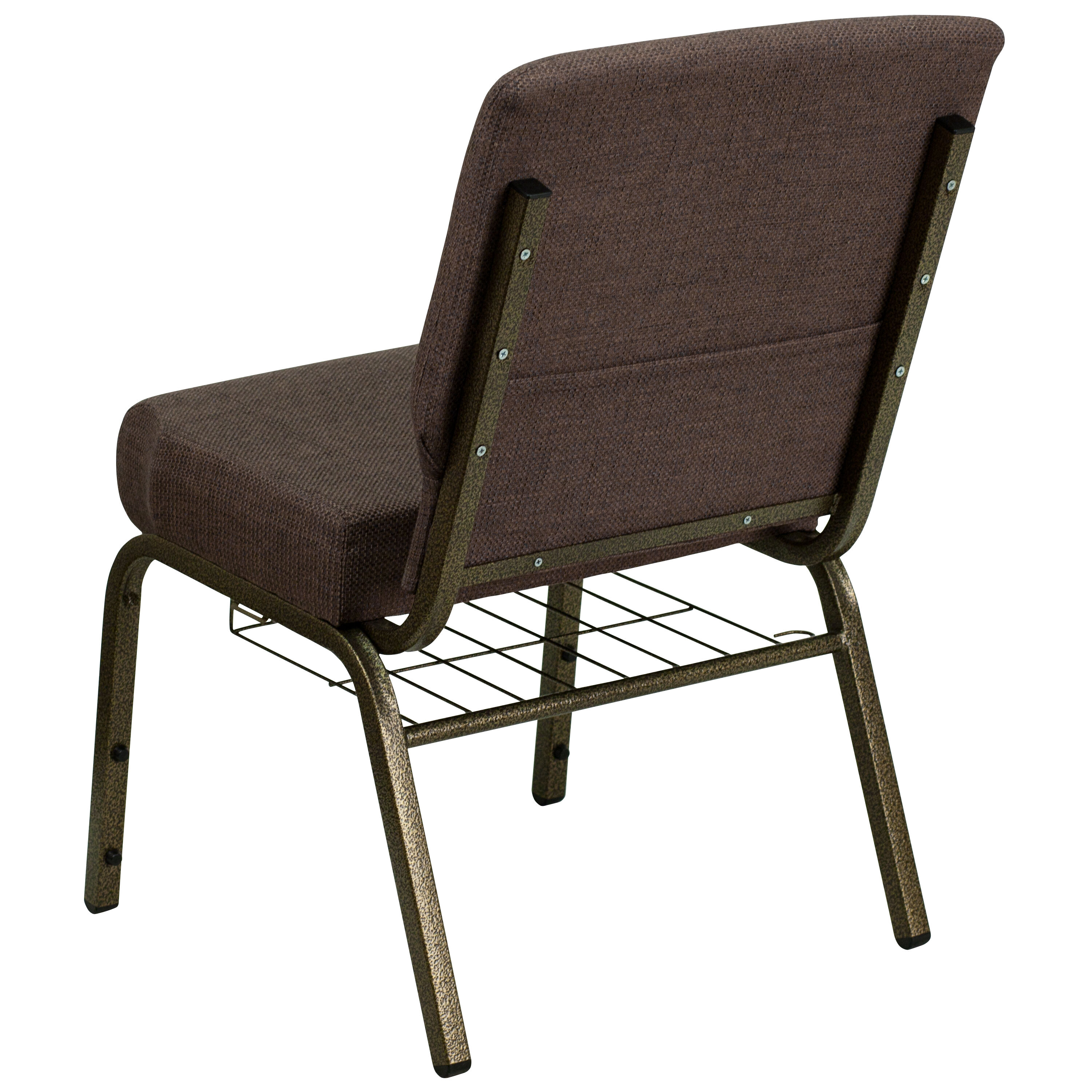 ... Our HERCULES Series 21u0027u0027W Church Chair In Brown Fabric With Cup Book  Rack ...