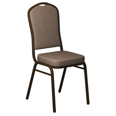 Embroidered Crown Back Banquet Chair in Sherpa Brown Haze Fabric - Gold Vein Frame