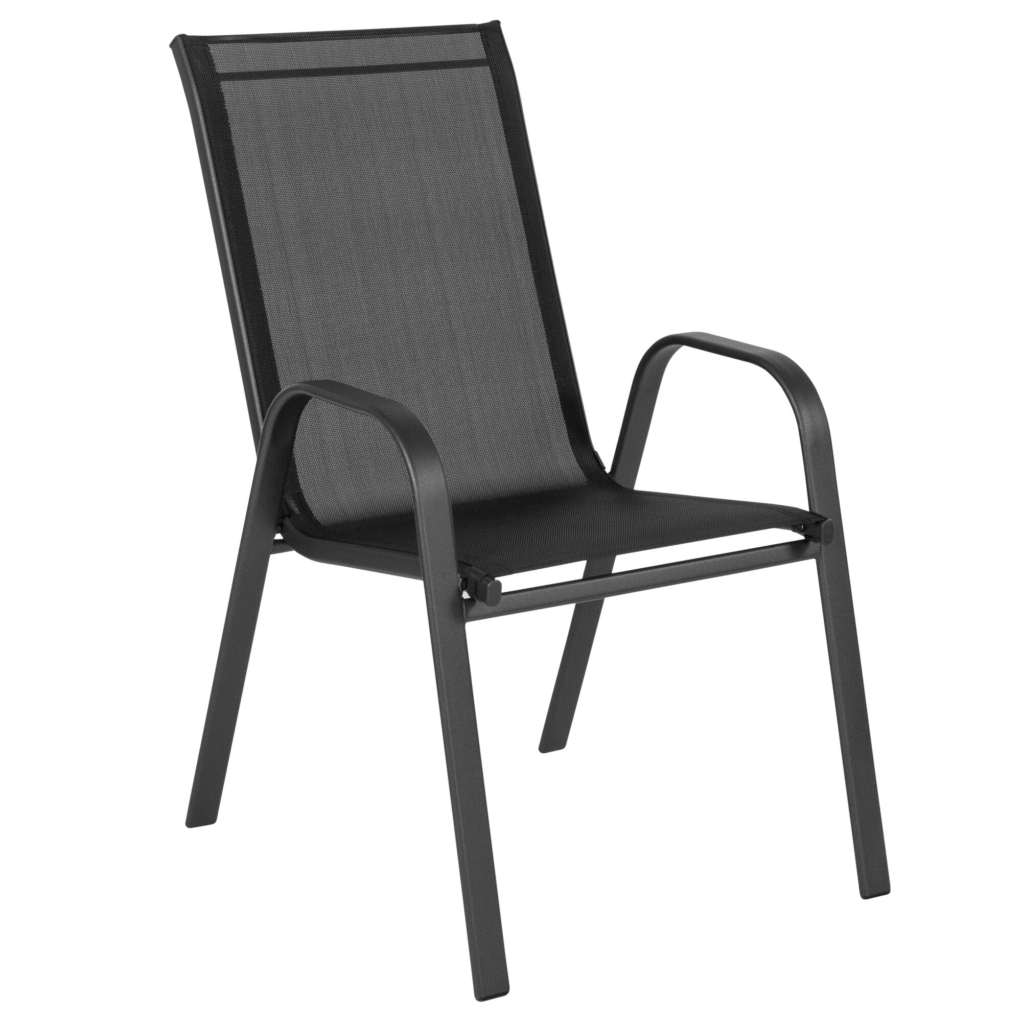 Black Patio Stack Chair Jj 303c Gg Churchchairs4less Com