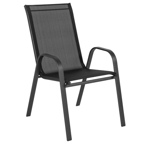 Our Brazos Series Black Outdoor Stack Chair with Flex Comfort Material and Metal Frame is on sale now.