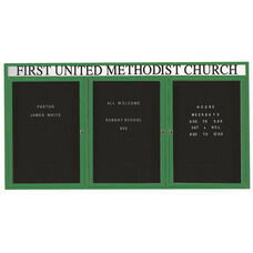 3 Door Indoor Enclosed Directory Board with Header and Green Anodized Aluminum Frame - 48