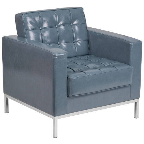 Our HERCULES Lacey Series Contemporary Gray Leather Chair with Stainless Steel Frame is on sale now.
