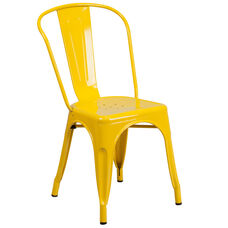 Commercial Grade Yellow Metal Indoor-Outdoor Stackable Chair