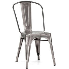Dreux Stackable Clear Gunmetal Steel Side Chair - Set of 4