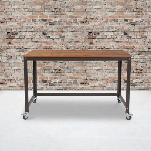 Our Livingston Collection Computer Table and Desk in Brown Oak Wood Grain Finish with Metal Wheels is on sale now.