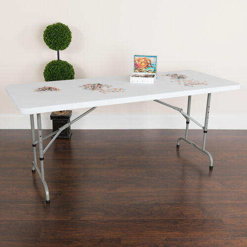 6-Foot Height Adjustable Granite White Plastic Folding Table