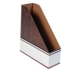 Bankers Box® Corrugated Cardboard Magazine File - 4 x 11 x 12 3/4 - Wood Grain - 12/Carton