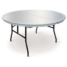 Commercialite Round Polyethylene Folding Table with Locking Legs - 72