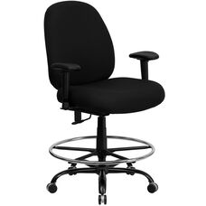 HERCULES Series Big & Tall 400 lb. Rated Black Fabric Drafting Chair with Adjustable Back Height and Arms